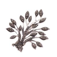 Sümer Telkari Hayat Ağacı Markazit Tasarım Gümüş Broş 63
