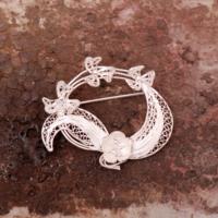 Sümer Telkari Telkari Örme El Yapımı Gümüş Broş 98