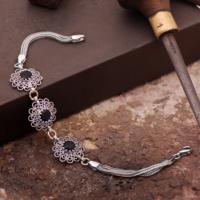 Sümer Telkari Safir Taşlı Telkari El Yapımı Gümüş Bileklik 1609
