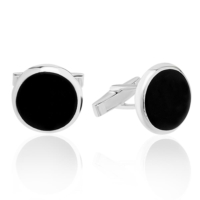 Denz Takı 925 Ayar Gümüş Siyah Model Kol Düğmesi Dcfl94121013