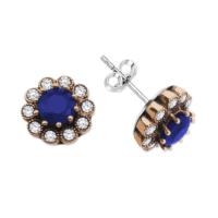 Alışverişrengi 925 Ayar Gümüş Zirkon Taşlı Mavi Çiçek Küpe
