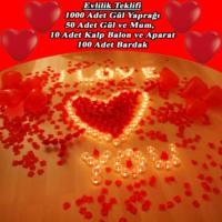 Chavin Gül Yaprağı Kalp Balon Mum Aşk Kutusu Yap22