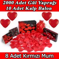 Chavin 2000 Adet Gül Yaprağı-Gül Yaprakları-Mum-Kalp Balon Yap21