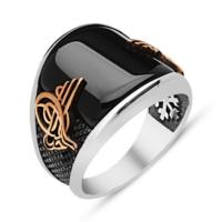 Anı Yüzük Siyah Oniks Taşlı Osmanlı Devleti Tuğralı 925 Ayar Gümüş Erkek Yüzüğü