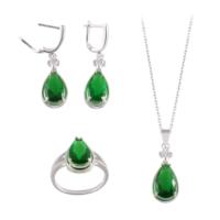 Akyüz Gümüş Damla Modeli Yeşil Zirkon Taşlı Gümüş Set