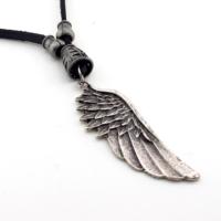 Solfera Angel Melek Kanadı Siyah Deri Metal Erkek Kolye K847