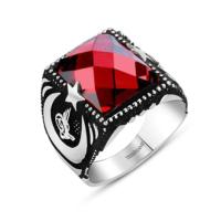 Tesbihane Sancak Yüzüğü - 925 Ayar Gümüş Kırmızı Zirkon Taşlı Ayyıldız Yüzük