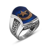 Tesbihane 925 Ayar Gümüş Ay Yıldız Tasarım Aheng Yüzük