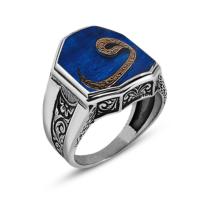 Tesbihane 925 Ayar Gümüş Vav Yazılı Mavi Mineli Cedid Yüzük