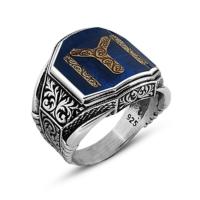 Tesbihane Otantik İşlemeli Kayı Tasarım Gümüş Yüzük