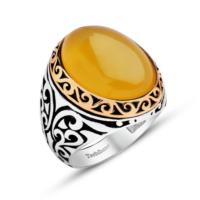 Tesbihane 925 Ayar Gümüş Özel Tasarım Sarı Akik Yüzük
