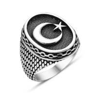 Tesbihane 925 Ayar Gümüş Ayyıldız Yüzüğü