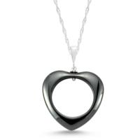 Tesbihane 925 Ayar Gümüşlü Hematit Doğaltaş Kalp Kolye