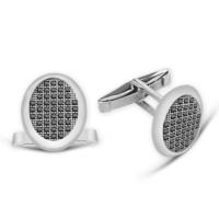 Tesbihane Zirkon Taşlı Oval Tasarım 925 Ayar Gümüş Kol Düğmesi