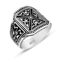 Tesbihane Pusat - 925 Ayar Gümüş Özel Tasarım Yüzük