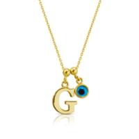 Goldstore 14 Ayar Altın Nazar Değmesin Harf Kolye Pnj40501