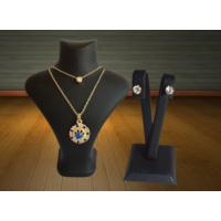 Forentina Mavi Taşlı Kolye Küpe Takı Seti Fr0503