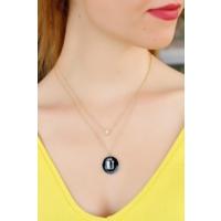 Morvizyon Zirkon Taşlı Siyah Renk Ü Harfli Tasarımlı Bayan Kolye 9077343
