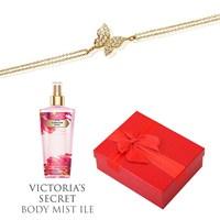 Melis Gold Altın Kelebek Bileklik Hp0138 + Victoria's Secret Body Mist ile