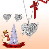 Tekbir Silver Gümüş Kalp Set