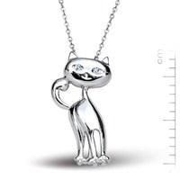 Bella Gloria Altın Kaplamalı Gümüş Kedi Kolye (GK00104)