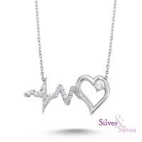 Silver & Silver Swarovski Kalbimin Ritmi Kolye