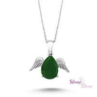 Silver & Silver Kök Zümrüt Taşlı Melek Kanadı Kolye