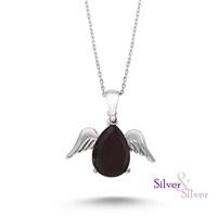 Silver & Silver Siyah Onix Taşlı Melek Kanadı Kolye