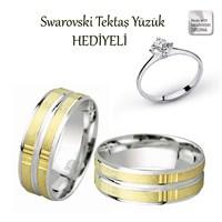 Ejoya Gümüş Çift Alyans C1011 - Swarovski Tektaş Yüzük Hediye !