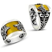 Tesbih1453 Kehribar Taşlı 925 Ayar Erkek Gümüş Yüzük