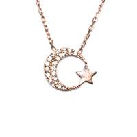 Zirkon Taşlı Rose Gümüş Kolye Ay Yıldız T014