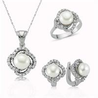 Tekbir Silver Gümüş İnci Çiçeği Set