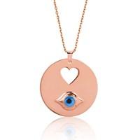 Tekbir Silver Gümüş Plaka Kalp Gözü Kolye
