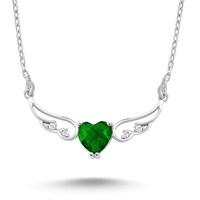 Silver & Silver Yeşil Kalp Melek Swarovski Taşlı Kolye