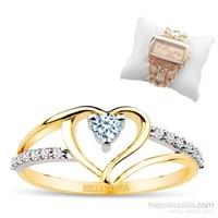 """Bella Gloria 8 Ayar 2,52 Gr """"Aşkıma"""" Altın Kalp Yüzük - PR78002"""