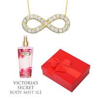 Melis Gold Altın Sonsuz Kolye Hp0122 + Victoria's Secret Body Mist Hediye !!