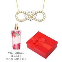 Melis Gold Altın Kalpli Sonsuz Kolye Hp0124 + Victoria's Secret Body Mist Hediye !!