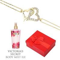 Melis Gold Altın Kalp Bileklik Hp0130 + Victoria's Secret Body Mist Hediye !!