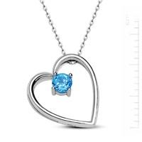 Bella Gloria Altın Kaplamalı Gümüş Mavi Topaz 'Kalbim Sende' Kolye (GK00117)
