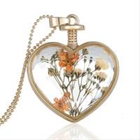 Güven Altın Yaşayan Kolye Kristal Cam İçinde Kurutulmuş Çiçekler Yk11