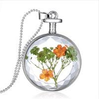 Güven Altın Yaşayan Kolye Kristal Cam İçinde Kurutulmuş Çiçekler Yk30