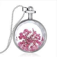 Güven Altın Yaşayan Kolye Kristal Cam İçinde Kurutulmuş Çiçekler Yk40