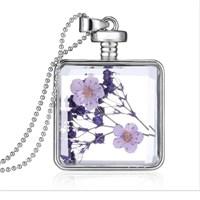 Güven Altın Yaşayan Kolye Kristal Cam İçinde Kurutulmuş Çiçekler Yk45