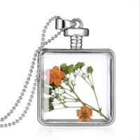 Güven Altın Yaşayan Kolye Kristal Cam İçinde Kurutulmuş Çiçekler Yk47