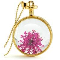 Güven Altın Yaşayan Kolye Kristal Cam İçinde Kurutulmuş Çiçekler Yk53
