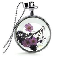 Güven Altın Yaşayan Kolye Kristal Cam İçinde Kurutulmuş Çiçekler Yk54