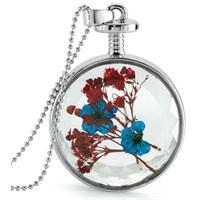 Güven Altın Yaşayan Kolye Kristal Cam İçinde Kurutulmuş Çiçekler Yk55