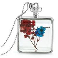 Güven Altın Yaşayan Kolye Kristal Cam İçinde Kurutulmuş Çiçekler Yk56