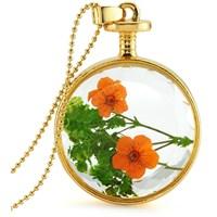 Güven Altın Yaşayan Kolye Kristal Cam İçinde Kurutulmuş Çiçekler Yk58