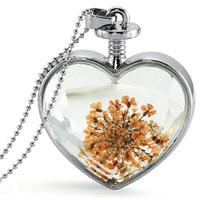Güven Altın Yaşayan Kolye Kristal Cam İçinde Kurutulmuş Çiçekler Yk60